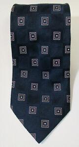 "DONALD J. TRUMP Signature Collection Silk TIE Golden Bar Navy Blue Squares 60"""