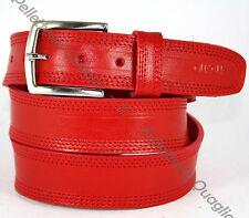 Cintura Pelle Rosso Cuoio Uomo Donna Artigianale Made In Italy 3,5 cm c3