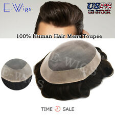 US SALE 100%Human Hair Replacements Mens Toupee Fine Mono Poly Around Hairpieces