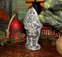 Primitive Antique Vtg Style Christmas Santa Claus Silver Resin Chocolate Mold
