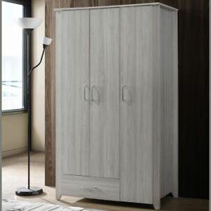 Large 3 Door Wardrobe Bedroom Storage Cabinet Closet Contemporary Design