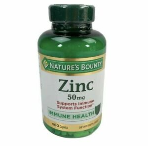 NATURES BOUNTY ZINK ~ Supports Immune Health 50mg 400 ct Caplets expire 03/2025+