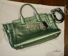 Coach Handbag Swagger 20 Metallic Tipped Pebble Carryall Leather Bag ~RARE