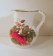 """ITALIAN ART POTTERY PITCHER SIGNED """"DONI"""" HAND PAINTED STRAWBERRIES"""