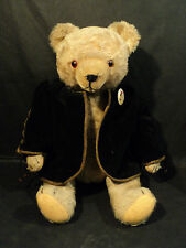 "19"" BEIGE MOHAIR JOINTED GERMAN 1950's GEBRUDER HERMANN TEDDY BEAR w/ GROWLER"