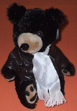 "NWT PURR-FECTION Plush Stuffed 12"" AVIATOR BLACK BEAR Pilot Jacket & Scarf MJC"
