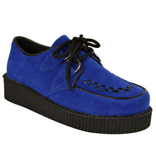 WOMENS LADIES FLAT PLATFORM WEDGE LACE UP CREEPERS PUNK GOTH SHOES BOOTS SIZE