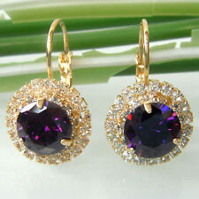 Amethyst 18K Yellow GP Stone Crystal Purple Zircon Leverback Earrings E2675