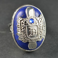 """Retro Lapis Lazuli Vampire Diaries """"D"""" Silver Plated Ring Props AH81 Size 9 Gift"""