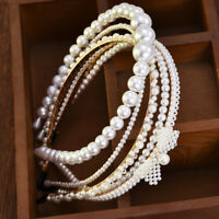 Women Elegant Big Pearl Headband Girls Crystal Hairband Hair Hoop Accessories Du