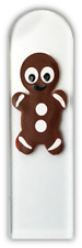 "Czech Crystal Glass Nail File Gingerbread Man Hand Painted Medium 5.5"" Christmas"