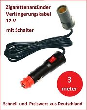 12 V Zigarettenanzünder Verlängerungskabel mit Schalter 3 m KFZ Auto LKW Stecker