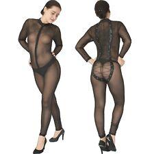 Schnürung am Tüll Catsuit* M  transparenter wetlook Ganzanzug* Overall* Bodysuit