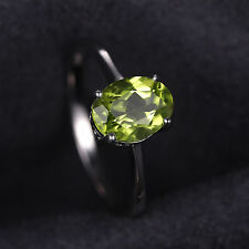 Sterling Silver Oval Genuine Peridot Ring Size 8