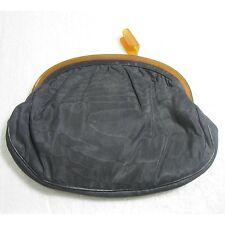Antique/vintage clutch bag/purse cloth plastic (celluloid) handle & latch wqe