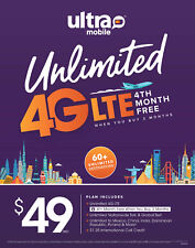 Ultra Mobile $49 Plan Unlimited Talk, Text, Data International to 60 Countries