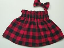 Baby's Skirt and head bow  Tartan checked Print New