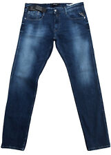Replay Men's Anbass M914 Jeans 34 x 32 Slim Skinny Fit New Blue Stretch