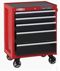"""Rolling Tool Cabinet 5 Drawer Steel CRAFTSMAN 2000 Series 26.5"""" W x 34"""" H Red"""