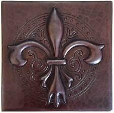 """Copper Tile (TL990) 4""""x 4""""  Fleur De Lis Designer Back splash accent Tiles"""