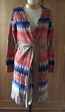Chicos Southwestern Style Belted Cardigan Sweater Duster Ultra Suede Belt Size 0