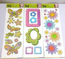 Lot of 3 Girls Wall Sticker Decal Decor Kids Bedroom Self Adhesive Removable