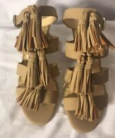 Crown & Ivy Womens Brown Ankle Strap Sandals T Strap Block Heels Size 7.5