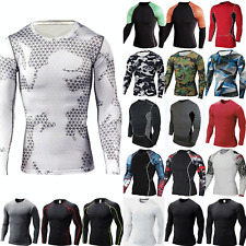 Mens Compression Armour Base Layer Top Long Sleeve Thermal Gym Sports Shirt Top