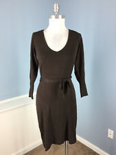 BCBG Maxazria Brown sweater dress S long sleeve stretch V Neck Career Excellent