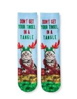 NEW Holiday Christmas Crew Socks One Size Unisex Cat Funny