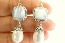 Mother Of Pearl White Pearl Drop 925 Sterling Silver Dangle Earrings