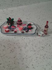 Miniature dollhouse furniture, accessories, food,glasses, bottles, cakes, cookie