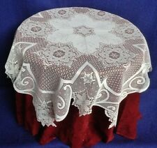 """White Lace Table Topper Tablecloth Snowflakes 43"""" Round Livingroom Dining Room"""