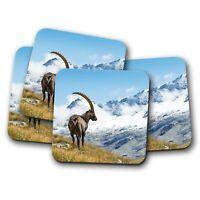 4 Set - Ibex Goat Alpine Coaster - Snowy Mountains Wild Life Animals Gift #16848