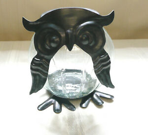 Rustic Glass Owl Jar Bronze Oil Rubbed Lid & Feet