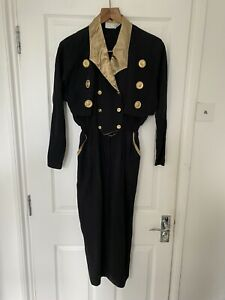 Vintage 80s Black Dress Gold Buttons Size 10