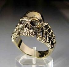 Bronze Skull with Bones Biker Ring Custom Size Handmade R-017b