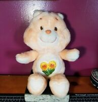 "Vintage 1983 Kenner Care Bear Friend Bear 13"" Plush Stuffed Animal Peach Flowers"