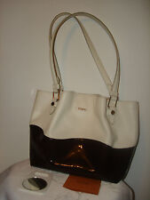 Nice Authentic Tod's Flower  Women's Two Tone Cream Brown Leather Bag Tote Italy