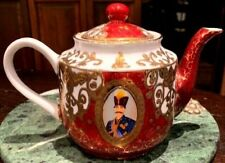 Vintage Turkish Style Teapot Hand Painted Porcelain Encrusted with Gold