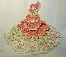 Crochet Crinoline Lady Doily - Ms Mum - Dk Pink and Antique White