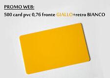 500 CARD PVC STAMPABILI FORMATO CARTA DI CREDITO colore GIALLO+BIANCO 0,76