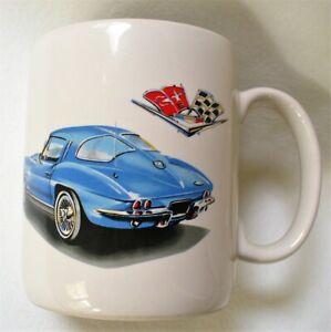 Vintage~CORVETTE~Blue~SPLIT WINDOW~White Coffee Mug~KARS~The Love Mug~KR5~Korea