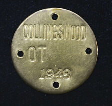 1948 Brass 30mm Collingswood OT NJ Vintage Keychain Fob Plaque Tag