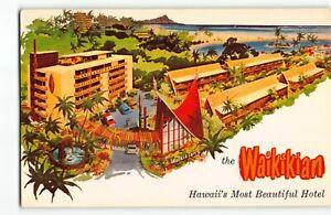 "1950s The Waikikian ""Polynesian"" Style Hotel- Kalia Chrome Postcard Hawaii Tiki"