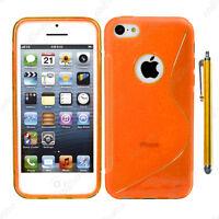 Housse Etui Coque Silicone Motif S-line Orange Apple iPhone SE 5S 5 + Stylet