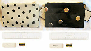 Kate Spade Dot Pencil Pouch / Case  DOT with Ruler, Eraser, & Sharpener New