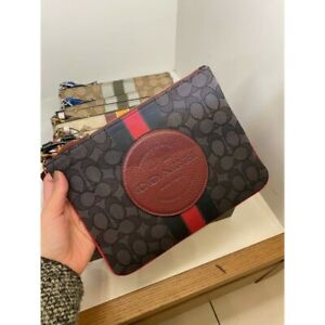 NWT Coach Dempsey Gallery Pouch Blk/Wine #2633