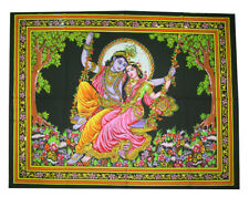 Lord Radha Krishna Indian Wall Hanging Tapestry Cotton Poster Boho Wall Decor