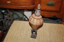 African Tribal Wood Carving Man Inside Weaved Basket